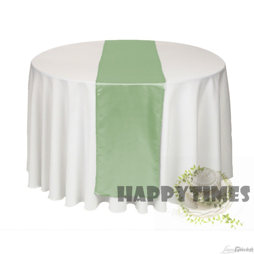 Table runner on round table - 20 Pieces Sage Green Table Runner For Round Table Linen Wedding Decotration Satin Table Ribbon Shiny