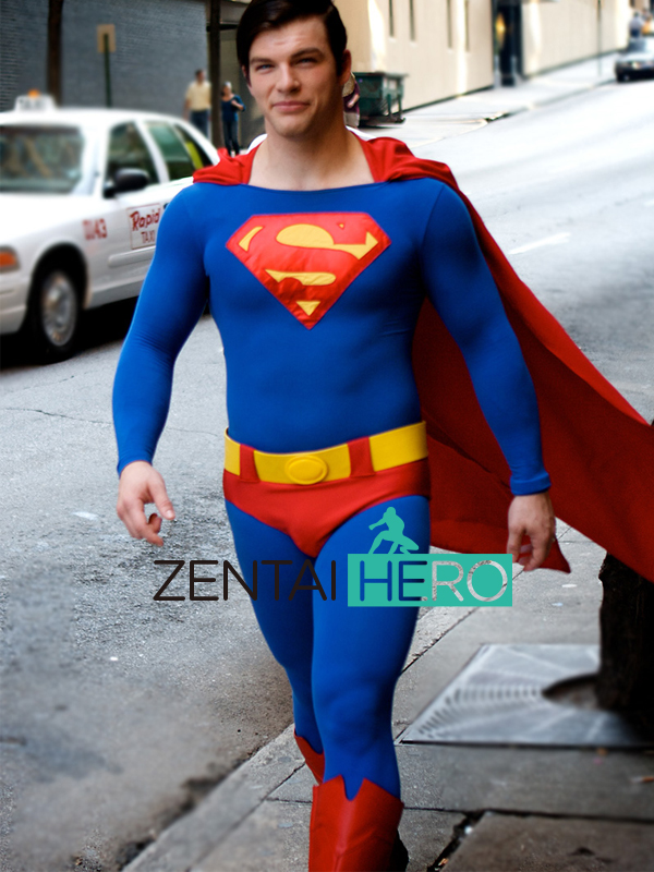 ZentaiHero Classical Male Tight Suit Red And Blue Catsuit Superman Superhero Bodysuit Halloween Party Costume Jumpsuit 17041101