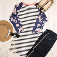 Women 2017 T-Shirt Three Quarter Sleeve Cute O Neck Floral Striped 2017 Summer Casual Top Female T Shirt Soft Ladies Tops Tees