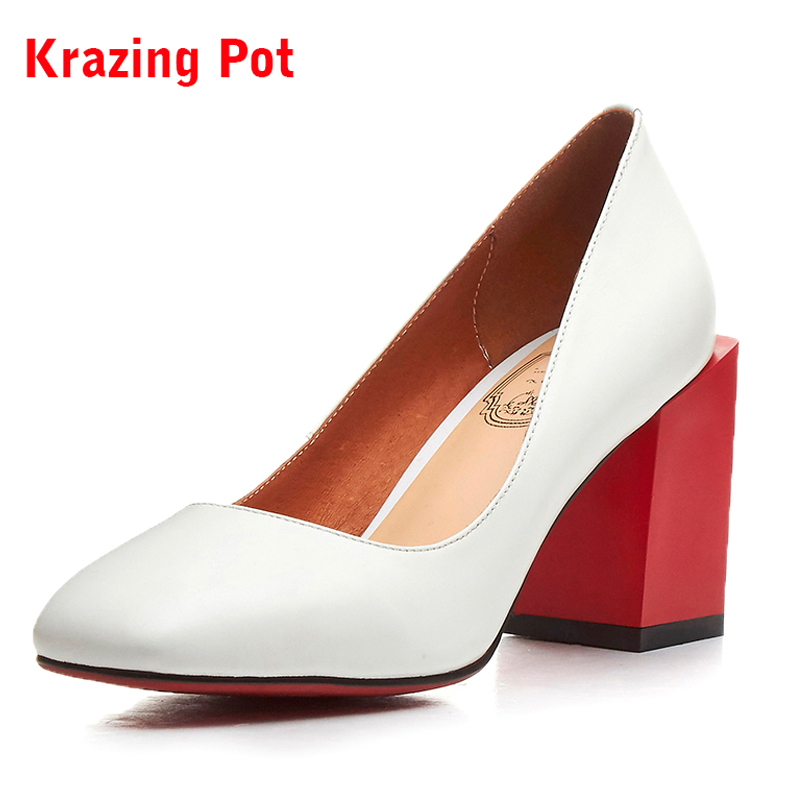 Krazing Pot New Fashion Brand Shoes Shallow Mixed Colors Heels Genuine Leather Women Pumps Shallow Mature superstar Shoes L01 hot temperament mature black genuine leather printing womens alphabet retro shoes shallow mouth embossed leather pumps