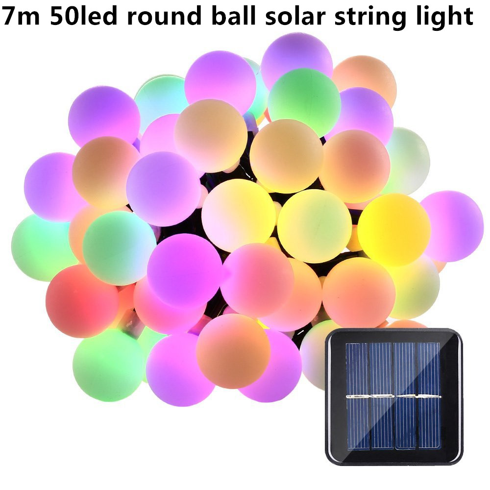 7m 50led 18mm Round Ball Solar String Lights Outdoor Fairy Light String For Christmas Wedding Party Decoration With Solar Panel