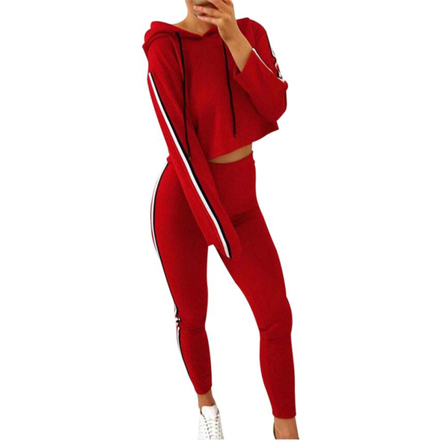 c63d3986e32 Autumn Winner two piece set Womens Tracksuit Hooded Hoodies Sweatshirt Top  Pants Sets Wear Casual Suit