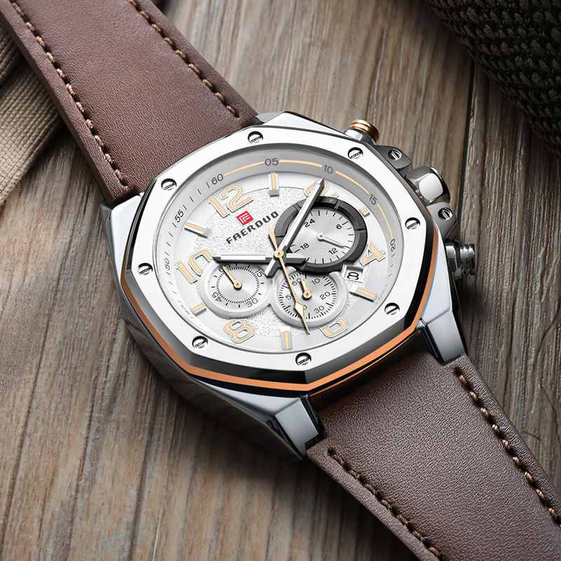 Silver Watch Male Stainless Steel Octagonal Top Brand Dial Chronograph Multi-Function Male Watch Genuine Leather Reloj Hombre