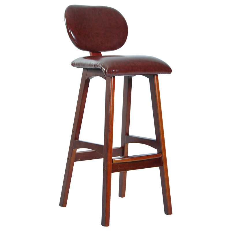 Modern Bar Chari Solid Wood Legs Leather Seat and Backrest Brown/Black Bar Furniture Chair Bar Vintage Leather Bar High Chair spin the chair desk chair high chair american vintage old iron bar chair001