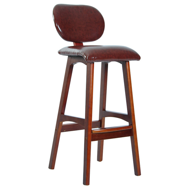 high chair wooden legs hanging rail modern bar chari solid wood leather seat and backrest brown black furniture vintage