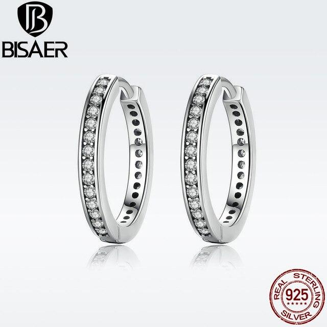 d29296d88 Trendy 925 Sterling Silver Cubic Zirconia Round Circle Crystal Women Hoop  Earrings for Women Fashion Women