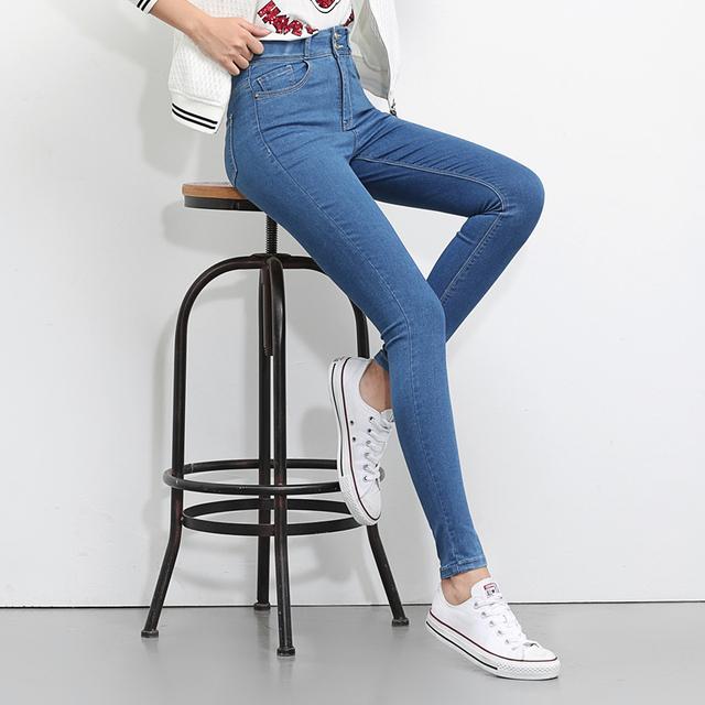 Jeans Woman  High Waist Plus Size Stretch summer autumn   full Length  Skinny Slim denim Pants for women black blue 5XL  6XL
