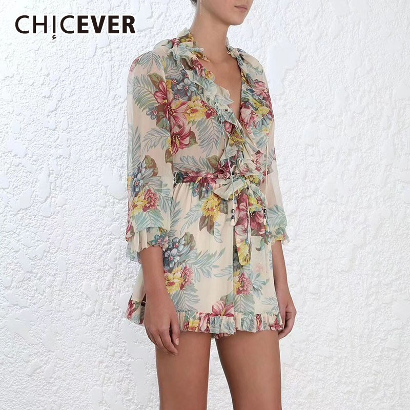 CHICEVER Summer Beach Print Chiffon Women Playsuits V Neck Patchwork Ruffles Long Sleeve High Waist Skinny Women Clothes 2020