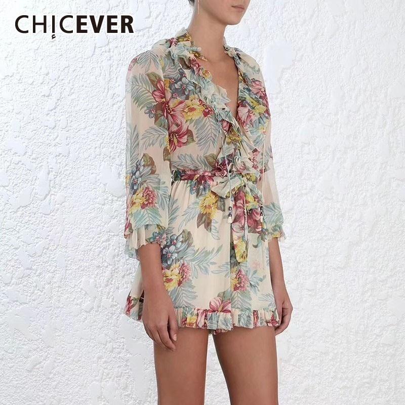 CHICEVER Summer Beach Print Chiffon Women Playsuits V Neck Patchwork Ruffles Long Sleeve High Waist Skinny Women Clothes 2020