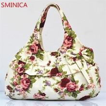 vogue canvas purchasing bag girl flower printing hobos shoulder luggage Female Casual tote bag women retro classic Beach purse