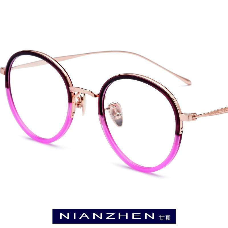 B Titanium Acetate Eyeglasses Frame Women Vintage Round Eye Glasses for Men Retro Myopia Optical Spectacles