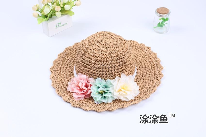 Модная летняя стильная цветная Цветочная широкополая пляжная шляпа с широкими полями для маленьких девочек, соломенная шляпа от солнца, 9 цветов - Цвет: Хаки