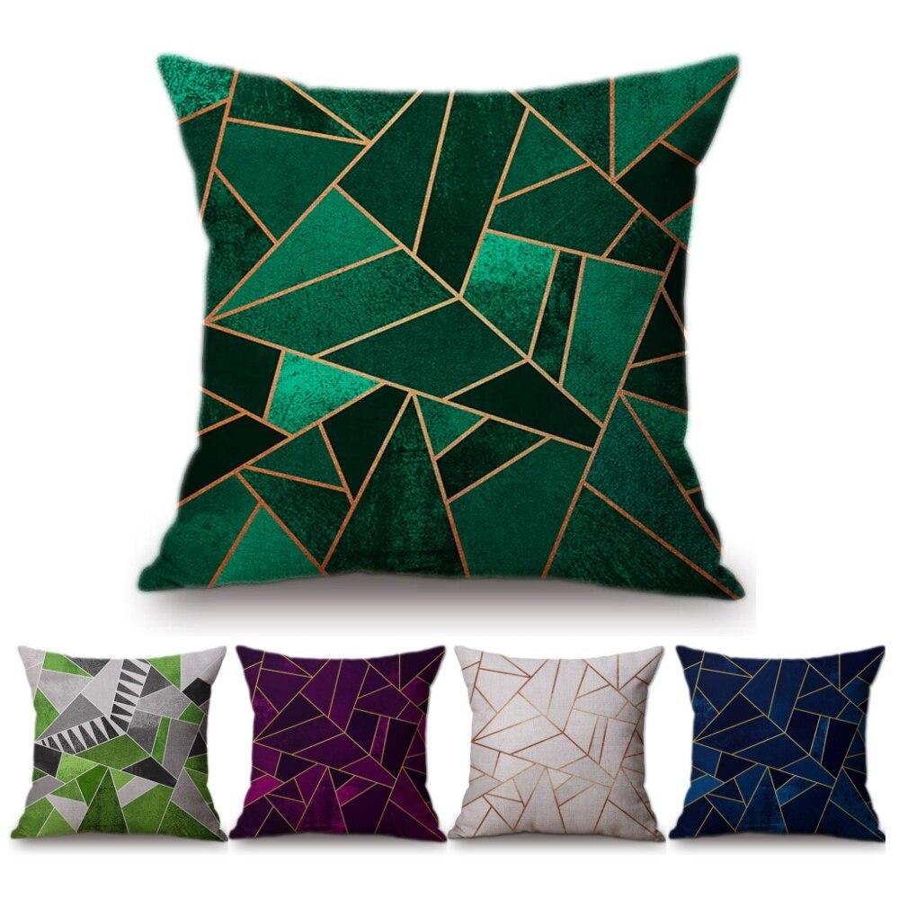 Vintage Europäischen Smaragd Kupfer Geometrische Sofa Kissen Schwarz Rosa Blau Marmor Stein Geometrie Hause Dekorative Kissenbezug
