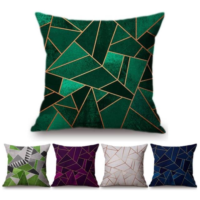Vintage European Emerald Copper Geometric Sofa Throw Pillows Black Grey Pink Blue Stone Triangles Cushion Cover