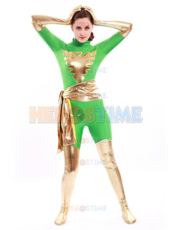 Green X-men Dark Phoenix Costume Shiny Metallic Lycra Spandex Phoenix Jean Grey Halloween Cosplay Bodysuit Free Shipping