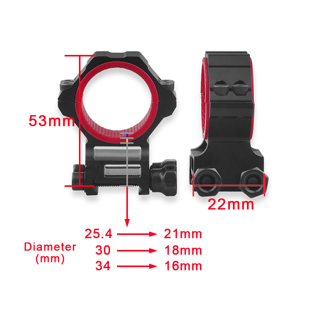 Discovery multi diameter 20mm 11mm rail sight scope mount universal 25 4mm 30mm 34mm anti slip fixed gun aiming seat in Scope Mounts Accessories from Sports Entertainment
