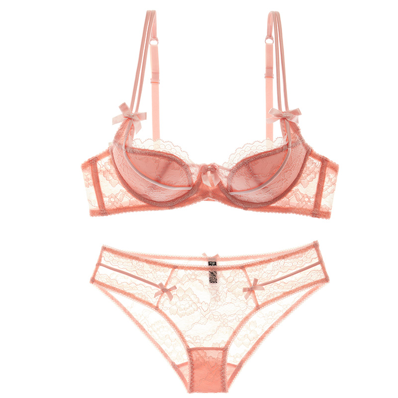 Red benmingnian European and American sexy thin cup bra set