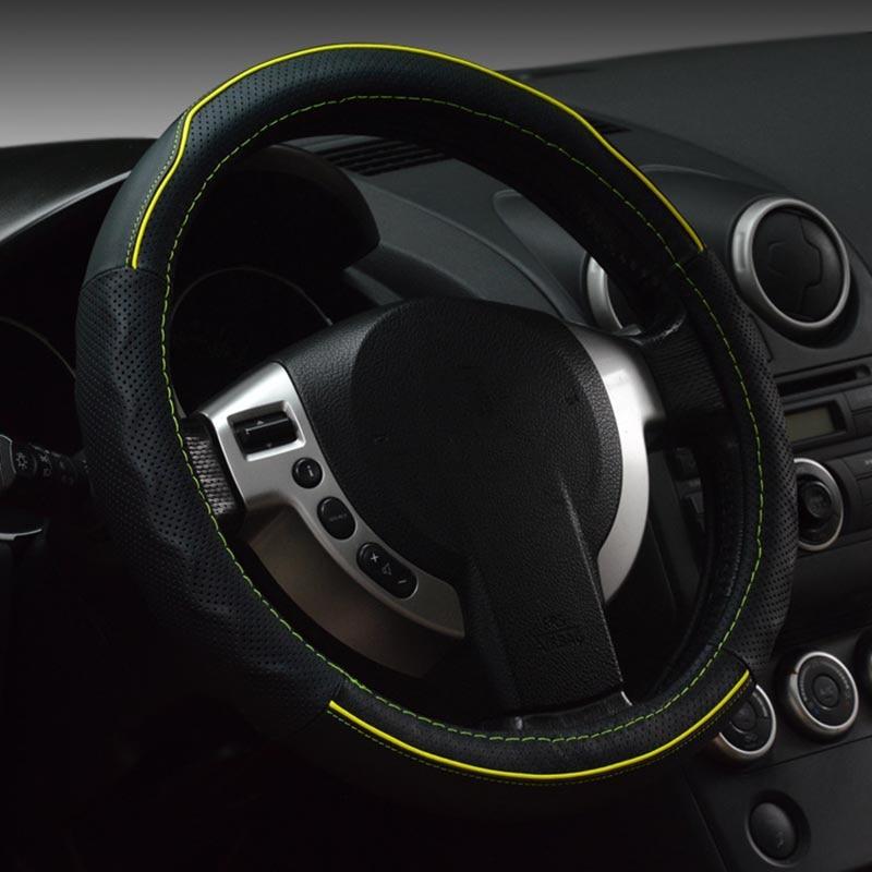 Cuero genuino cubierta del volante deportivo coche ruedas de - Accesorios de interior de coche - foto 1