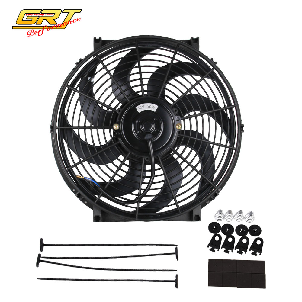 """16/"""" INCH ELECTRIC COOLING RADIATOR FAN CURVED HOT ROD UNIVERSAL 12V"""
