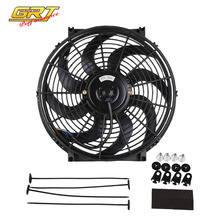 GRT   14 inch Black 12V 90W Electric Universal Auto Cooling Radiator Fan Hot Rad Mounting Kit CF003