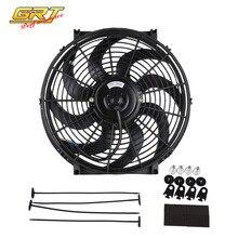 GRT 14 pulgadas negro 12V 90W eléctrico Universal Auto ventilador de refrigeración caliente Rad Kit de montaje CF003