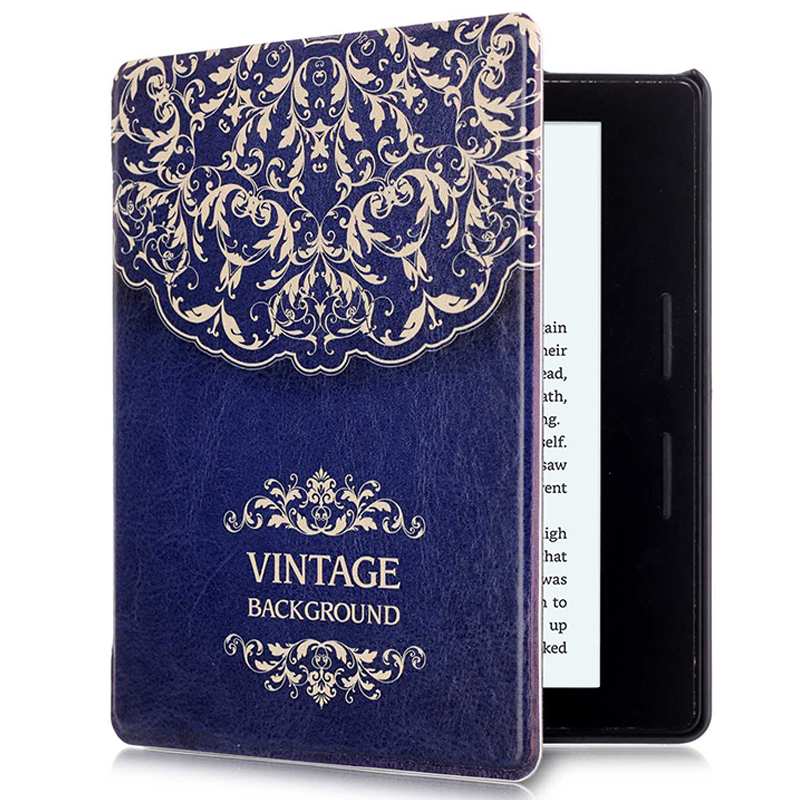 New Pu leather Print e-books ebook Reader protective cover for Amazon Kindle Oasis 6inch Protector Back Shell with Sleep&Wake Up pu leather ebook case for kindle paperwhite paper white 1 2 3 2015 ultra slim hard shell flip cover crazy horse lines wake sleep
