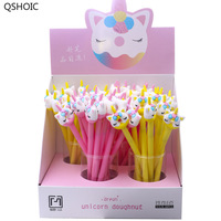 48pcs/box Cute Cartoon Horse Donut Silicone Gel Pen Creactive Stationery School Students Water Ink Pen Writing Pen Cute