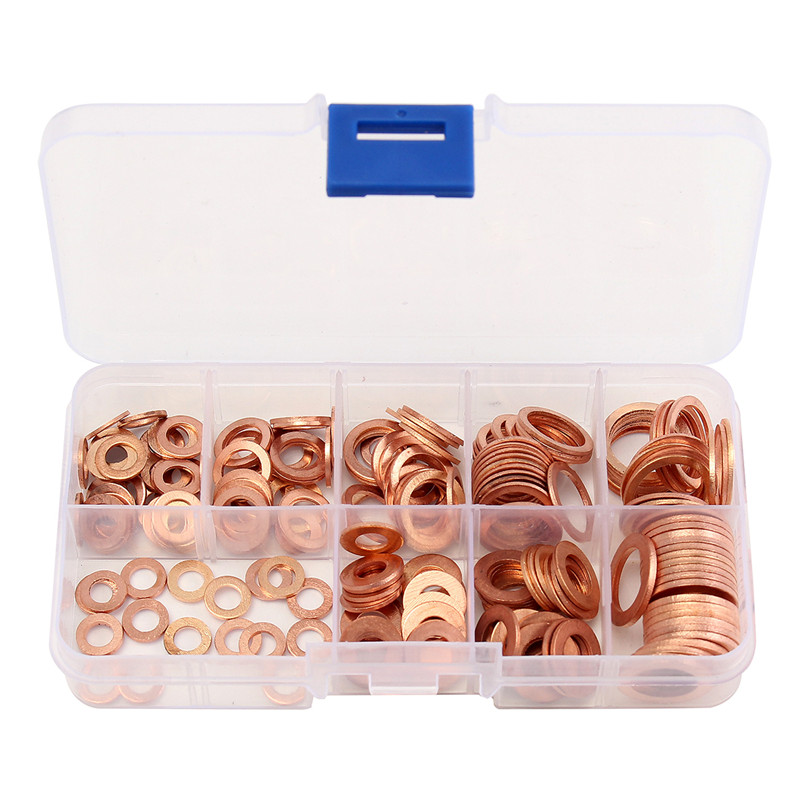 200Pcs Solid Copper Washers Sump Plug Assorted Washer Car Set Plastic Box New 390pcs in one box m4 m19 in box hardware red copper washer assortment kit set red copper washer brass washer