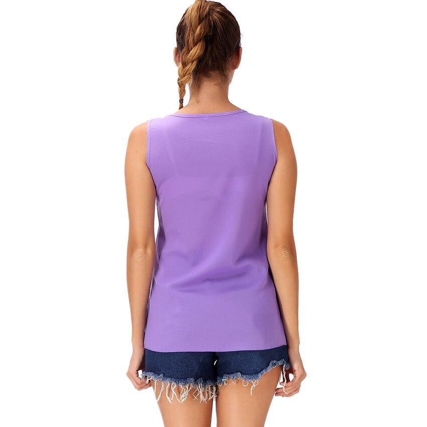 0e8bc993de MYLEY New Summer Plus Size 3XL Chiffon Strap Tank Top Women Sleeveless  Shirt O-neck Cami Loose Casual Female Tops Vest Purple