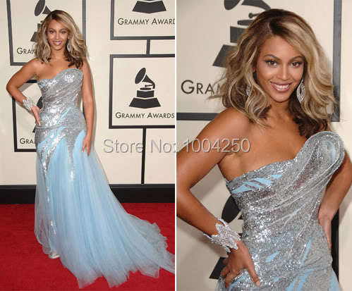 2016 Hot Sale Celebrity Dress Shining Light Blue Beyonce Dress Sexy Strapless  Sequined Organza Prom Dress b6f7b007b446