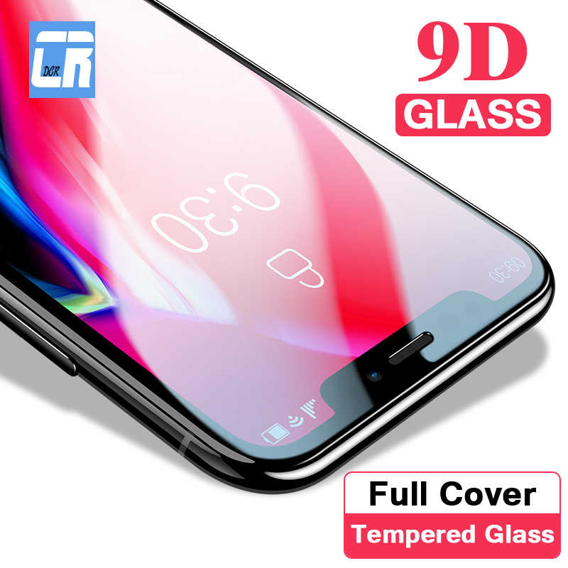 9D Curved Edge Full Cover Protective Glass for iPhone X XS MAX XR Screen Protector iPhone 8 Tempered Glass for iPhone 7 6S Plus