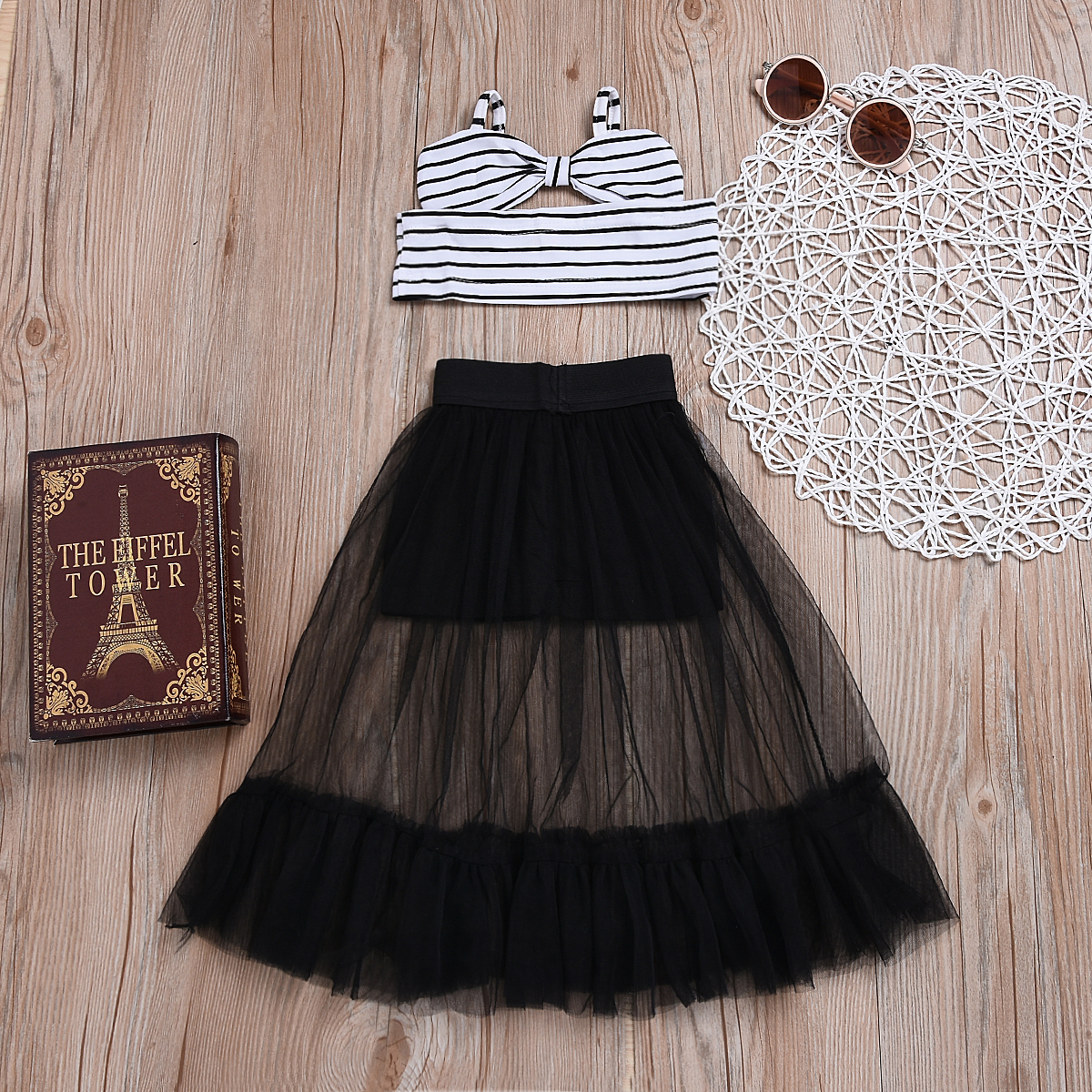Toddler Baby Girl Stripe Crop Tops Shorts Skirt Dress Outfits Clothes Summer UK