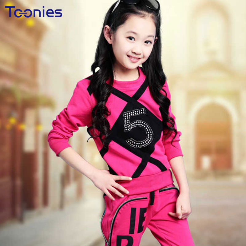 Children Suit Kids Girls Pants Suits 2018 New Trend Girl Sportswear Fashion Beads Child Clothing Sets Long Sleeves Suit School summer child suit new pattern girl korean salopettes twinset child fashion suit 2 pieces kids clothing sets suits
