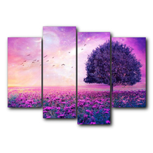 4 Pieces Vintage Poster Natural Landscape Flowers Tree Wall Art Canvas Painting For Home Decor Wedding Decoration No Frame