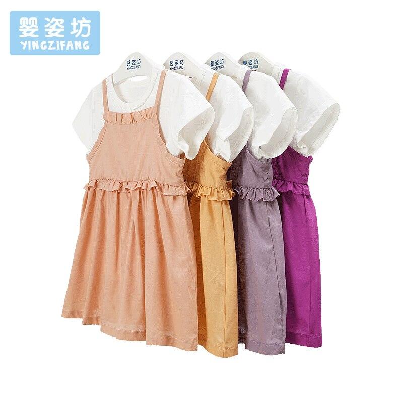 Yingzifang Apressado Real 2017 Do Bebê Do Vestido Da Menina de Verão Crianças Vestidos Com Camisa Suspender Crianças Vestido de Princesa Para As Meninas