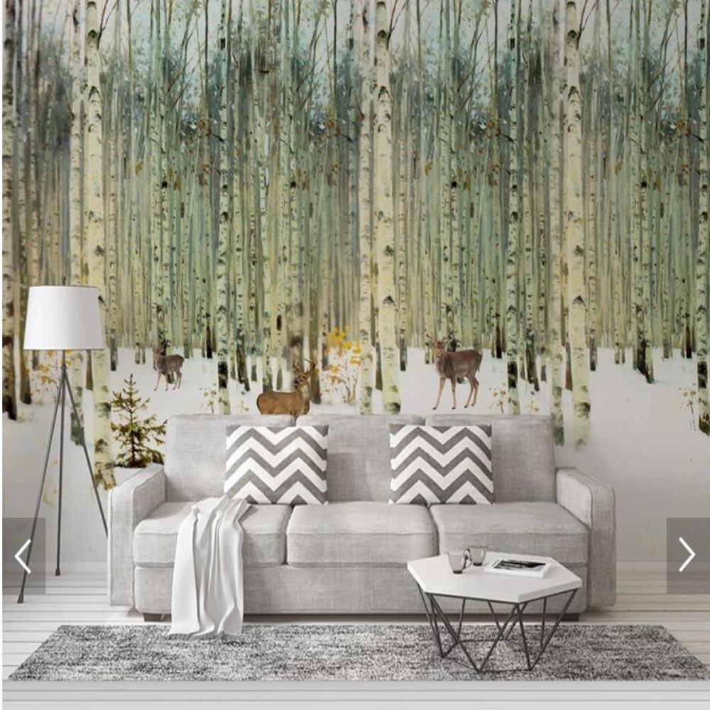 Bedroom Art Mural: Modern Hand Painting Birch Tree Wallpaper Mural 3D Printed
