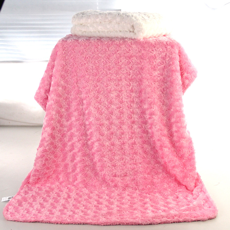 New Baby Nursing Blanket Flannel Rose Blanket Coral Fleece Flower Blankie Swaddling Wrap Bebe Bedding 76x102cm