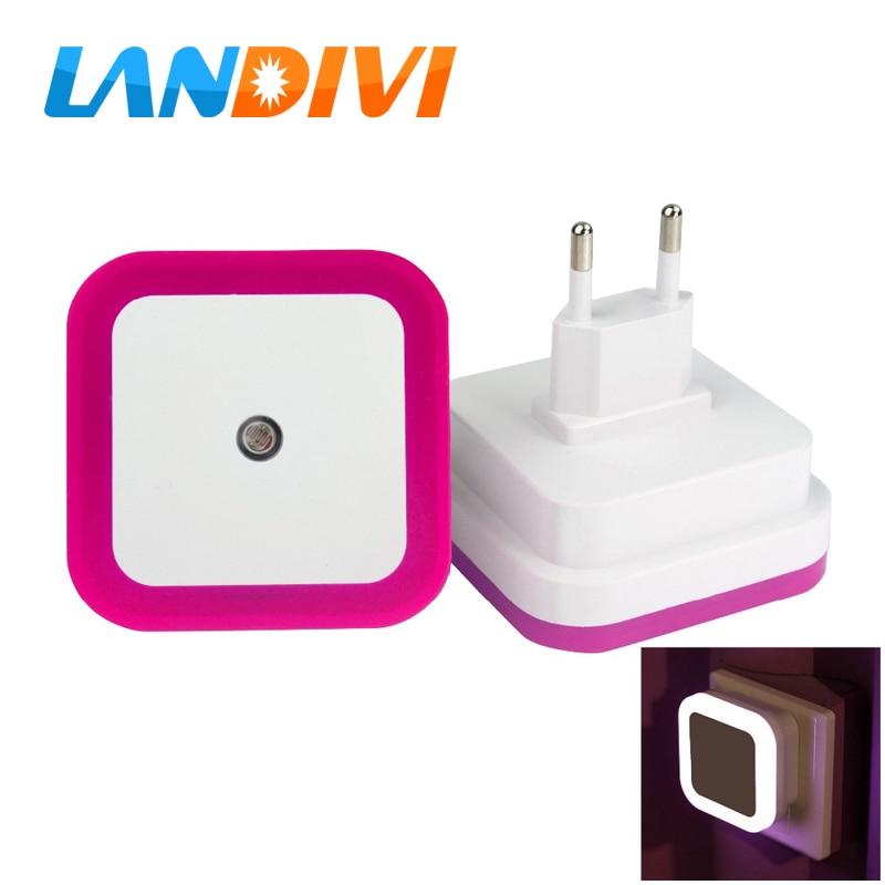 US EU Mini LED 0.5W Night Light Control Auto Sensor Baby Bedroom Lamp square White yellow AC110-220V LED night light for baby