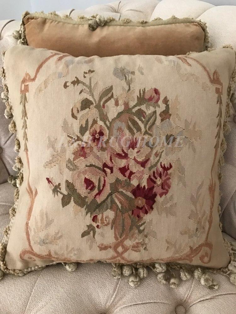 Free Shipping 18x18 Aubusson Hand Woven Cushion, 100% New Zealand Wool handmade pillow, no insertionFree Shipping 18x18 Aubusson Hand Woven Cushion, 100% New Zealand Wool handmade pillow, no insertion