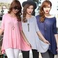 Новый 2014 женщин лето осень весна свободного покроя футболки девочка одежда из хлопка топы тис Большой размер S-4xl 3xl мода рыхлой хлопка половину
