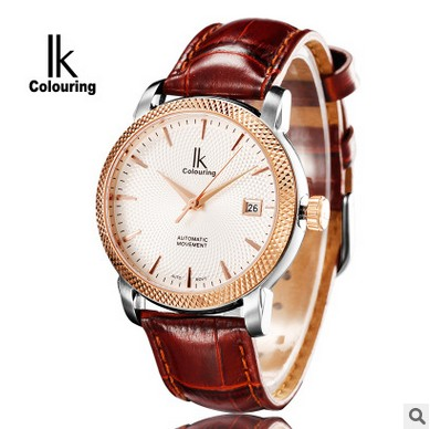 IK Colouring 10ATM Water Resistant Male Clock Auto Date Mechanical Men Watch Guenuine Leather Strap Automatic Wristwatch компрессор abac o20p montecarlo