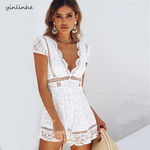 yinlinhe Floral Embroidery White Lace Short Jumpsuit Women Rompers V neck black sexy Transparent playsuit backless