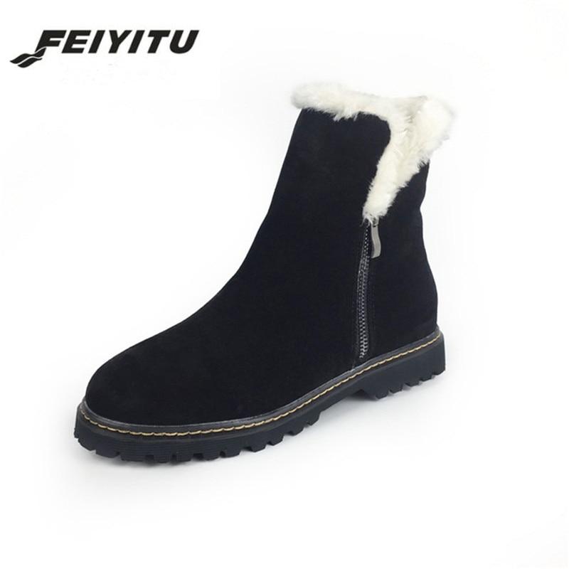 Las Natural Calidad Botines Cuero Vaca Para Caliente Alta Mujeres Genuino Botas Zapatos Negro Feiyitu Real Invierno Piel Nieve De Mujer Suede khaki Señoras w5zaxITnq