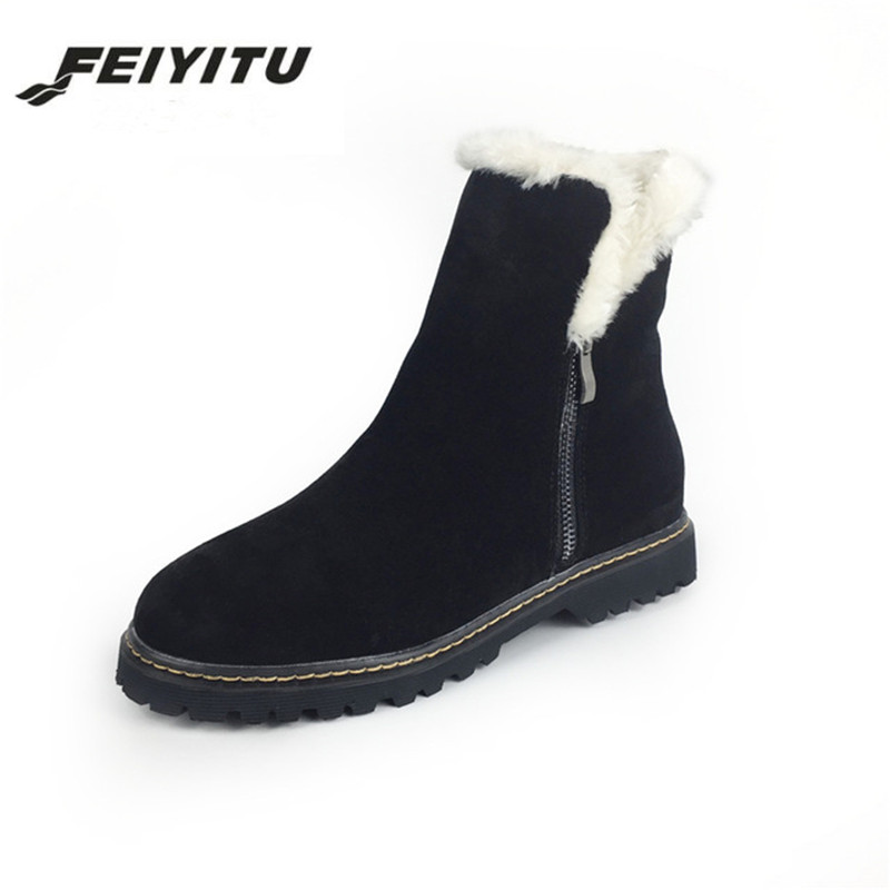 все цены на feiyitu Real Natural Genuine Leather Cow Suede Snow Boots for Women Winter Warm Fur High Quality Ankle Boots Ladies Shoes Woman