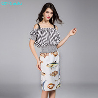 Runway 2017 Women's High Quality Two Piece Set Stripe Strapless Blouse Shirt + Summer Animal Print Pencil Long Skirts Set Suit
