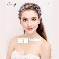 European And American Style Bride Headdress Handmade Wedding Crown Hair Band Headband Flower Pearls Hair Accessories