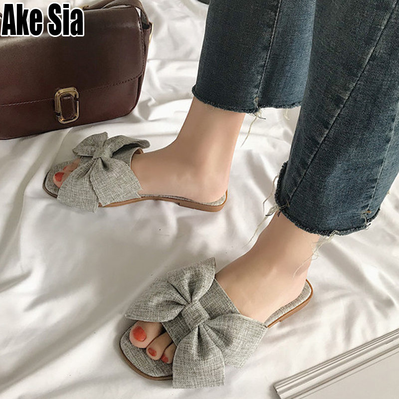 Fashion Flax Plaid Bowknot Women Lady Summer Girl Stuffies Flat Casual Scuff Mules Slides Beach Loafers Lazy Slippers Shoes A838Fashion Flax Plaid Bowknot Women Lady Summer Girl Stuffies Flat Casual Scuff Mules Slides Beach Loafers Lazy Slippers Shoes A838