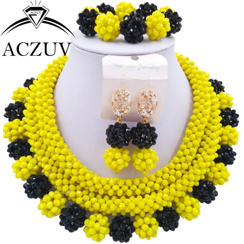 Femmes Ensemble de Bijoux Noir et Jaune De Mariage Africain Perles Cristal Collier AN012