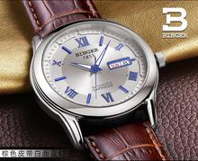 Switzerland men's watch luxury brand Wristwatches BINGER luminous Mechanical Wristwatches leather strap Waterproof BG-0383-15