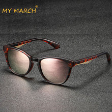 MYMARCH Small Cat Eye Sunglasses Women Fashion Mirror Shades Sun Glasses Brand Designer Pink Cateye Glasses Oculos De Sol UV400 стоимость